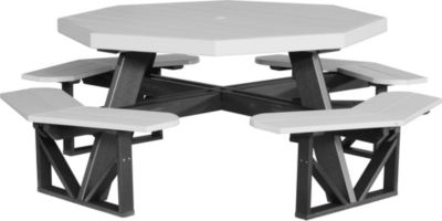 Amish Outdoors Poly Picnic Table Gray Two-Tone Octangonal Picnic