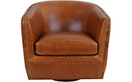 Kuka A1137 100% Leather Camel Swivel Glider