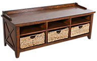 Liberty Hearthstone Oak Storage Bench with Baskets