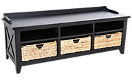 Liberty Hearthstone Black Storage Bench with Baskets