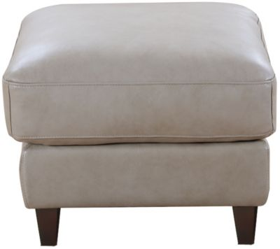 Leather Italia Georgetowne Sand 100% Leather Ottoman