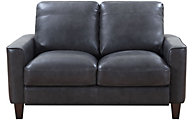 Leather Italia Georgetowne Gray 100% Leather Loveseat