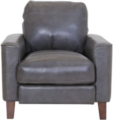 Leather Italia Georgetowne Gray 100% Leather Chair
