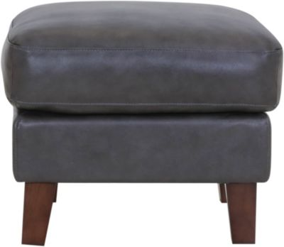 Leather Italia Georgetowne Gray 100% Leather Ottoman