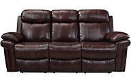 Leather Italia Joplin Brown Leather Power Reclining Sofa