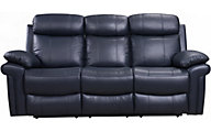 Leather Italia Joplin Blue Leather Power Reclinining Sofa