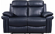 Leather Italia Joplin Blue Leather Power Reclining Loveseat