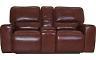 Leather Italia Broadway Leather Power Headrest Reclining Loveseat