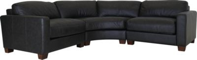 Leather Italia Brent 3-Piece 100% Leather Sectional