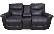 La-Z-Boy James Gray Reclining Loveseat with Console