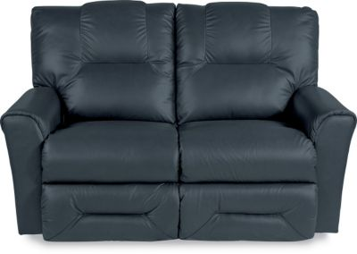 Groovy La Z Boy Easton Navy Leather Full Reclining Loveseat Creativecarmelina Interior Chair Design Creativecarmelinacom