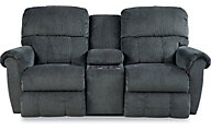 La-Z-Boy Briggs Navy Reclining Loveseat with Console