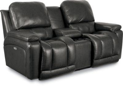 La-Z-Boy Greyson 100% Leather Power Recline Loveseat w/Cons