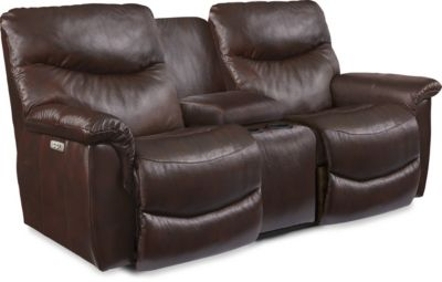 La-Z-Boy James Leather Power Recline Console Loveseat