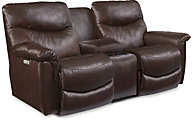 La-Z-Boy James Power Recline Leather Console Loveseat