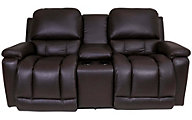 La-Z-Boy Greyson 100% Leather Power Console Loveseat