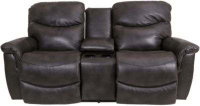 La-Z-Boy James Leather Power Loveseat with Console