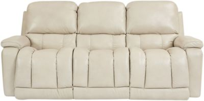 La-Z-Boy Greyson White Leather Power Reclining Sofa