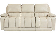 La-Z-Boy Greyson White Leather Power Headrest Sofa