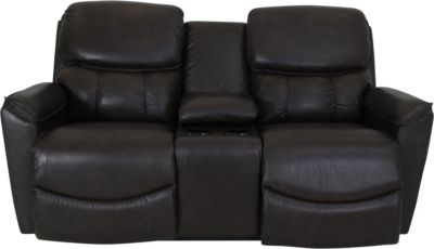 La-Z-Boy Kipling Grey Leather Power Headrest Loveseat