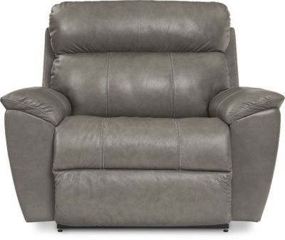 La-Z-Boy Roman Gray Leather Reclining Chair and 1/2