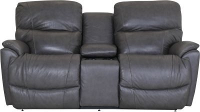 La-Z-Boy Trouper Gray Leather Power Headrest Loveseat with
