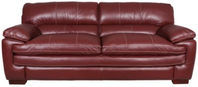 Superbe La Z Boy Dexter 100% Leather Red Sofa