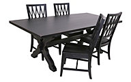 Magnolia Home Sawbuck Trestle Table & 4 Camden Side Chairs
