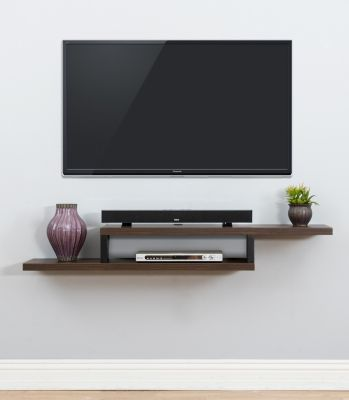 Martin Furniture 60-Inch Asymmetric Walnut Wall Mount Console Shelf