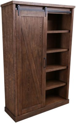 Martin Furniture Avondale Brown Tall Barn Door Bookcase
