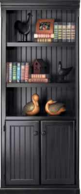 Martin Furniture Southhampton Onyx Black Bookcase with Doors