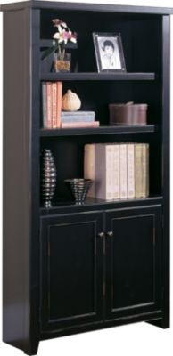 Martin Furniture Tribeca Loft Black Bookcase with Doors