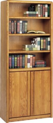 Martin Furniture Contemporary Office 6-Shelf Bookcase with Doors