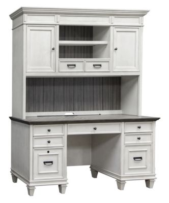 Martin Furniture Hartford White Credenza with Hutch