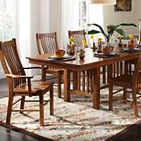 Mission Aamerica Laurelhurst 7 Piece Solid Oak Mission Dining Set