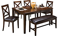 New Classic Latitudes 6-Piece Chestnut Dining Set
