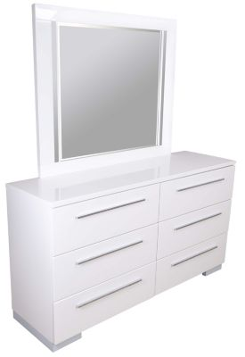 New Classic Sapphire White Dresser with Mirror
