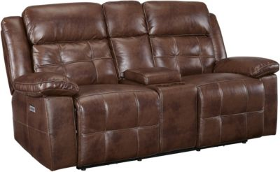 New Classic Clayton Power Recline Loveseat w/Power Headrest