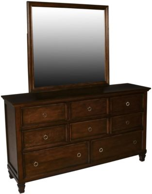 New Classic Tamarack Brown Cherry Dresser with Mirror