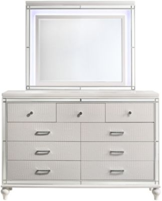 New Classic Valentino Whtie Dresser with Mirror