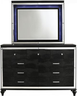 New Classic Valentino Black Dresser with Mirror