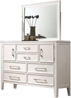 New Classic Andover White Dresser/Mirror Set