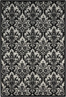 Nourison Damask Black & White 8' X 10' Rug