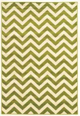 Powell Claremont Green Chevron 5' X 7' Rug