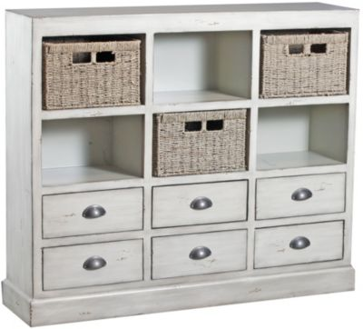 Powell Currituck Cream Console with Baskets