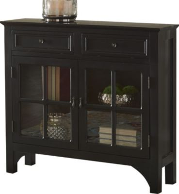 Powell Black Campbell Fretwork Storage Console