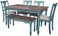 Powell Willow Table, 4 Side Chairs & 1 Bench