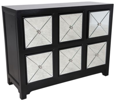 Powell 6-Drawer Mirrored Storage Console