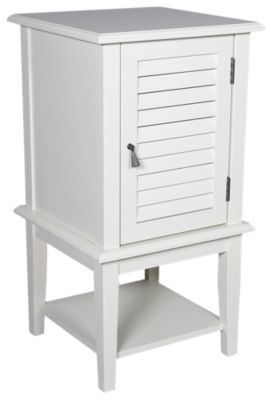 Powell White Shutter Door Storage Accent Table