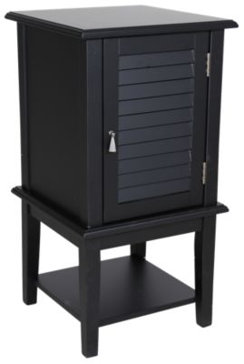 Powell Black Shutter Door Storage Accent Table